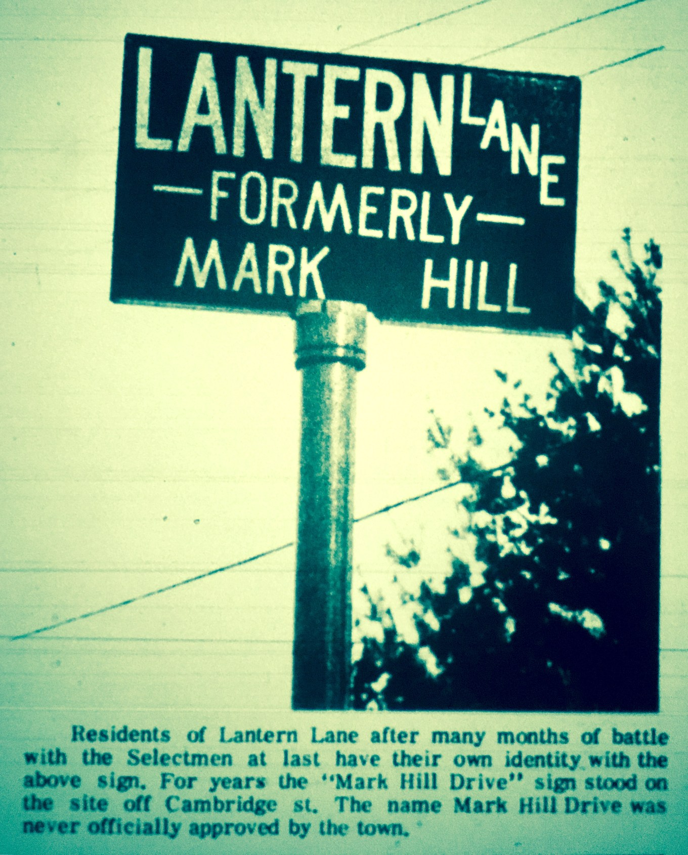 Lantern Lane/Mark Hill subdivision sign, Burlington MA 1966