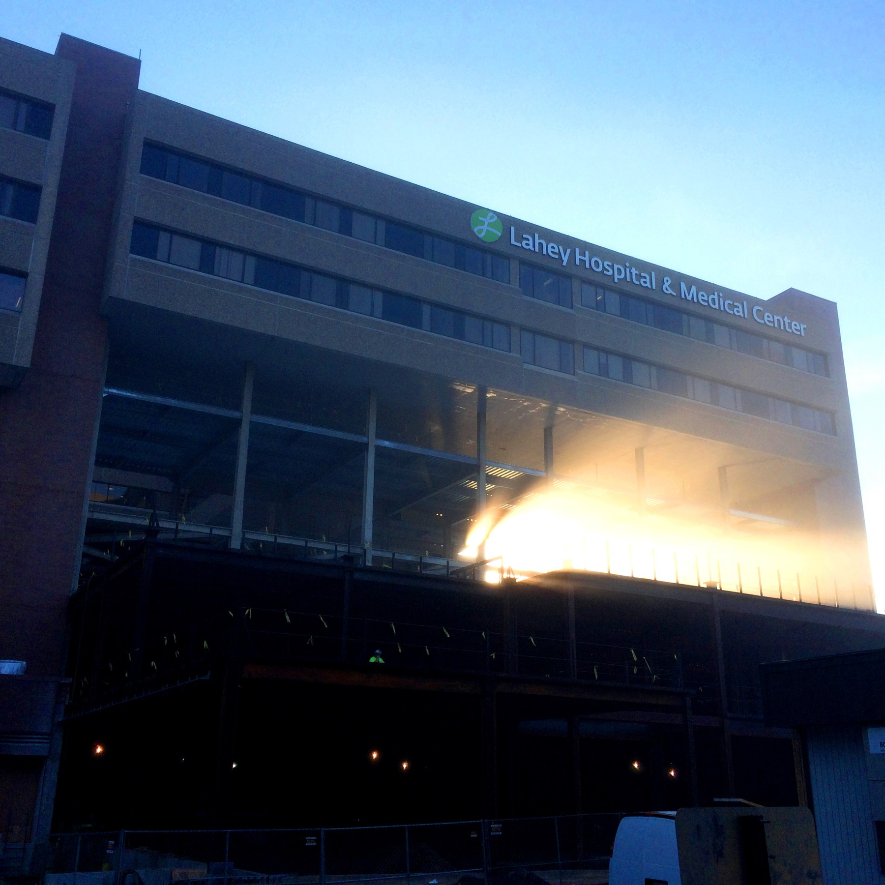 Lahey Hospital under construction at dawn, Burlington MA