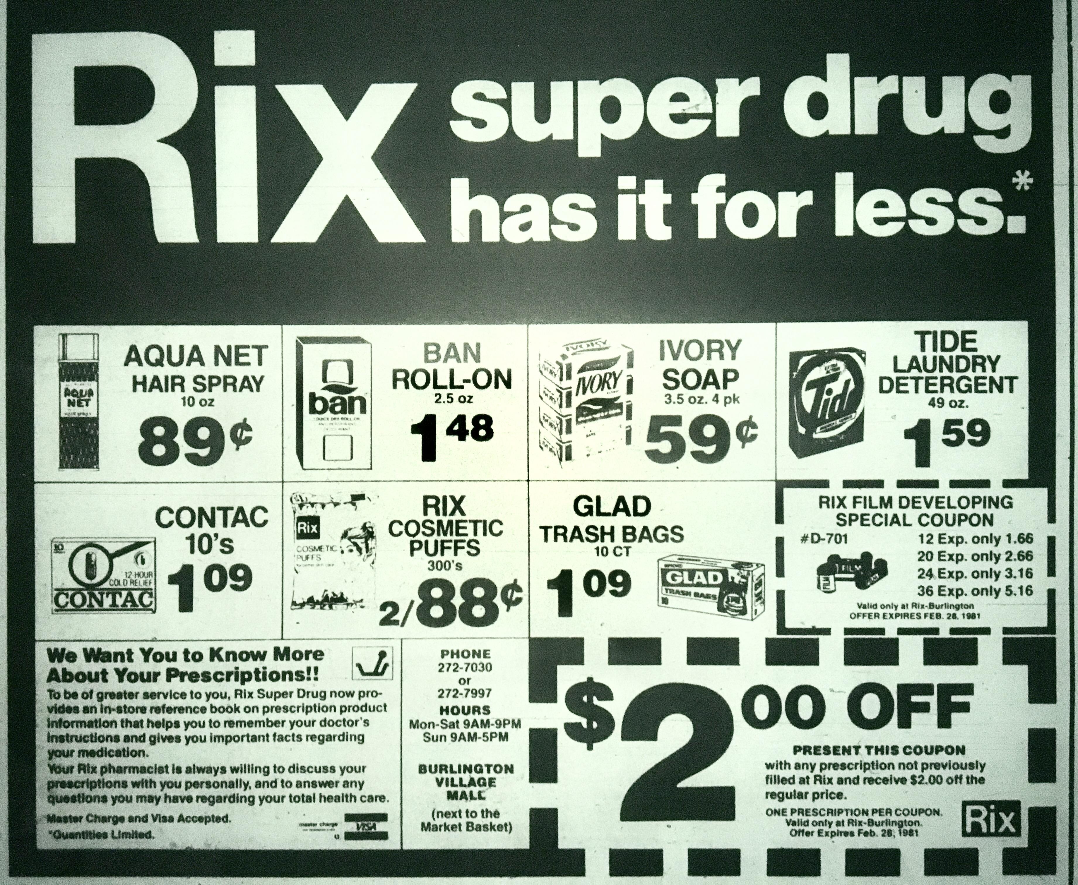 Rix Super Drug, Burlington MA