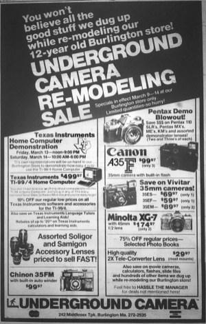 Underground Camera, Burlington MA