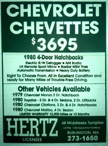 Chevy Chevettes Burlington MA