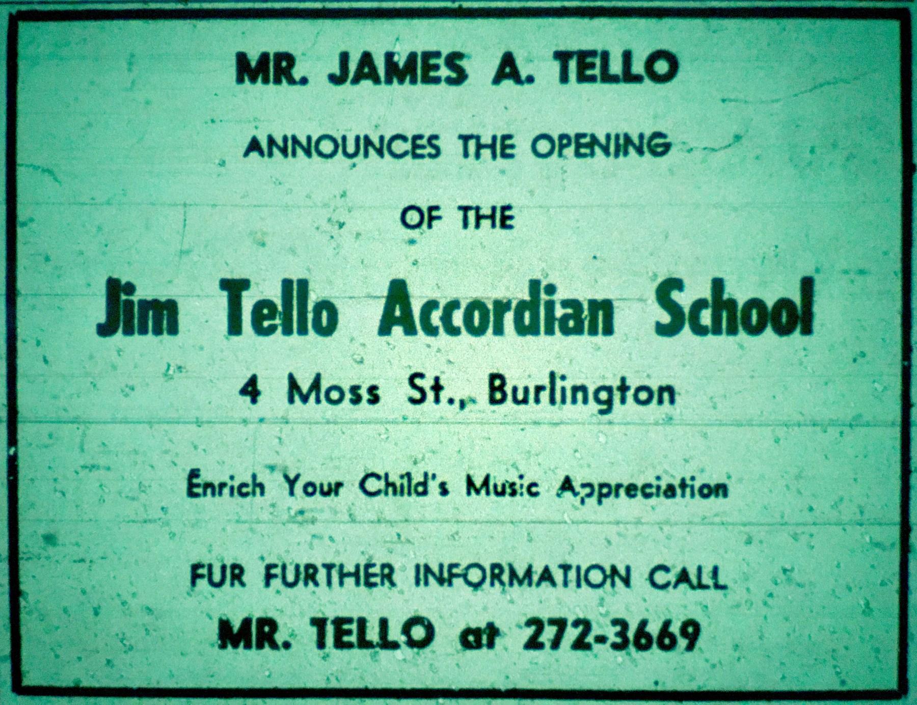 James Tello Accordian School, Burlington mA