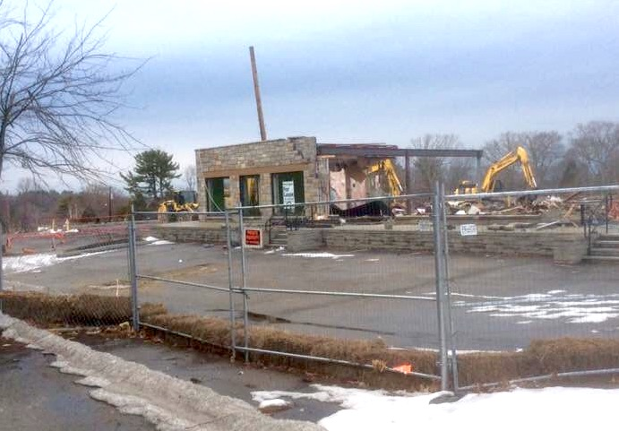 Rexall plaza demolition for Shoppes at Simonds Park, Burlington MA