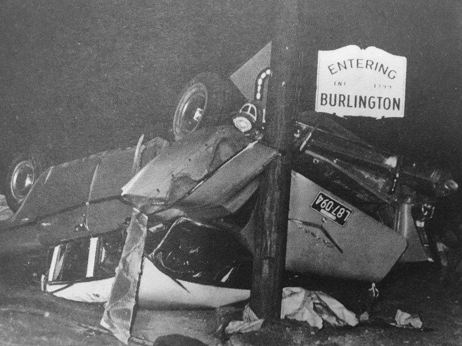1966 accident scene, Burlington MA