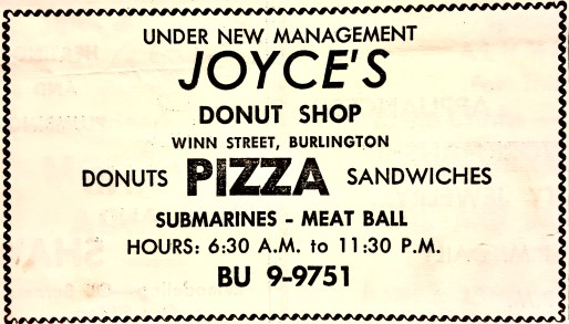Joyce's Donut Shop Burlington MA