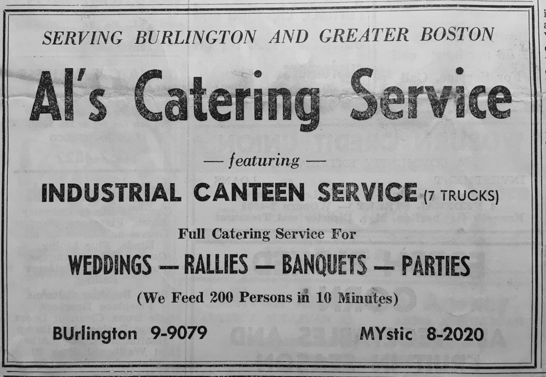 Al's Catering Service Burlington MA