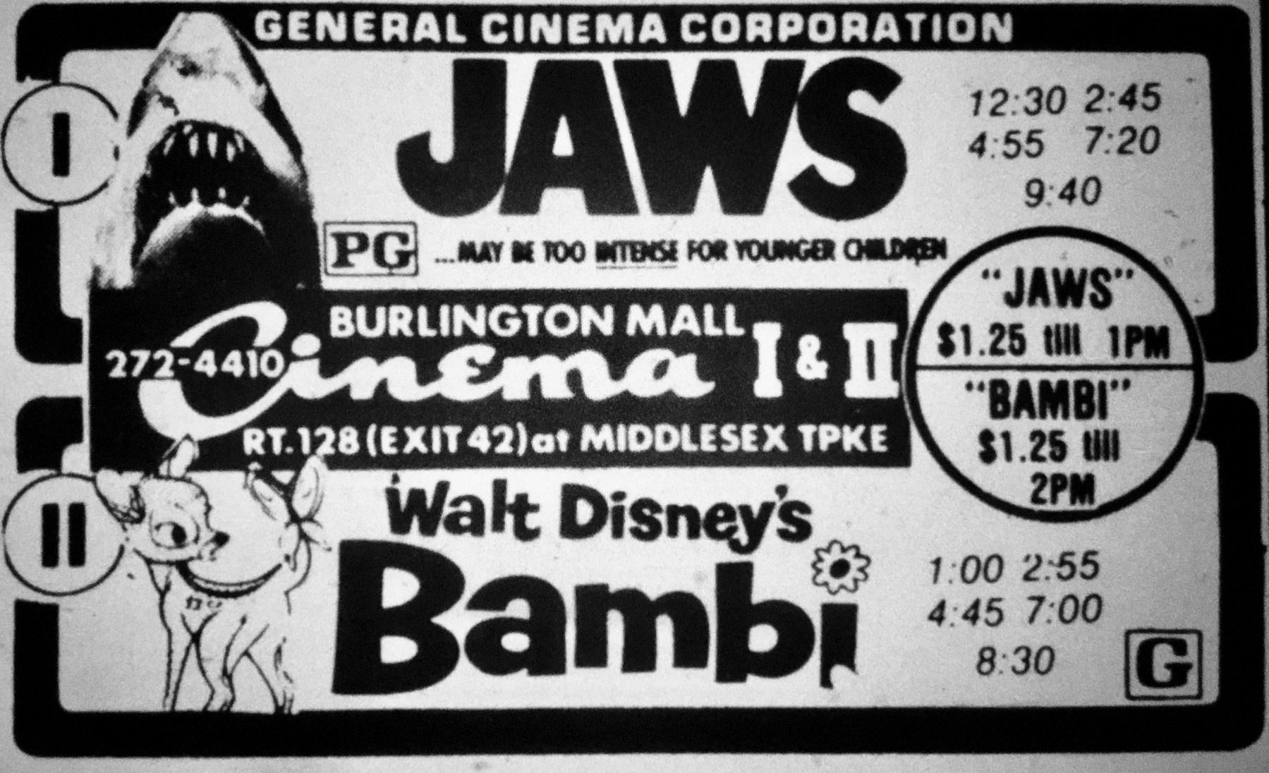 Jaws/Bambi double-bill, Burlington MA