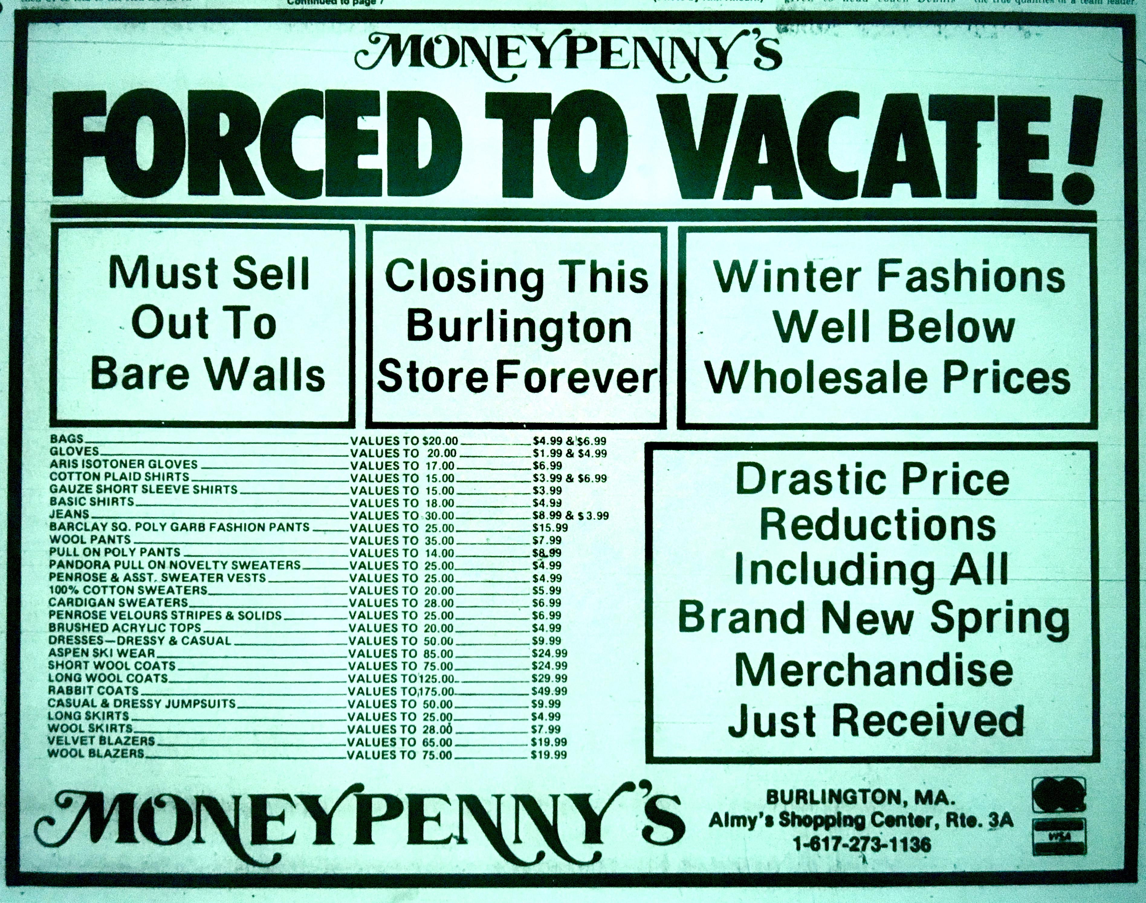 Moneypenny's closing sale