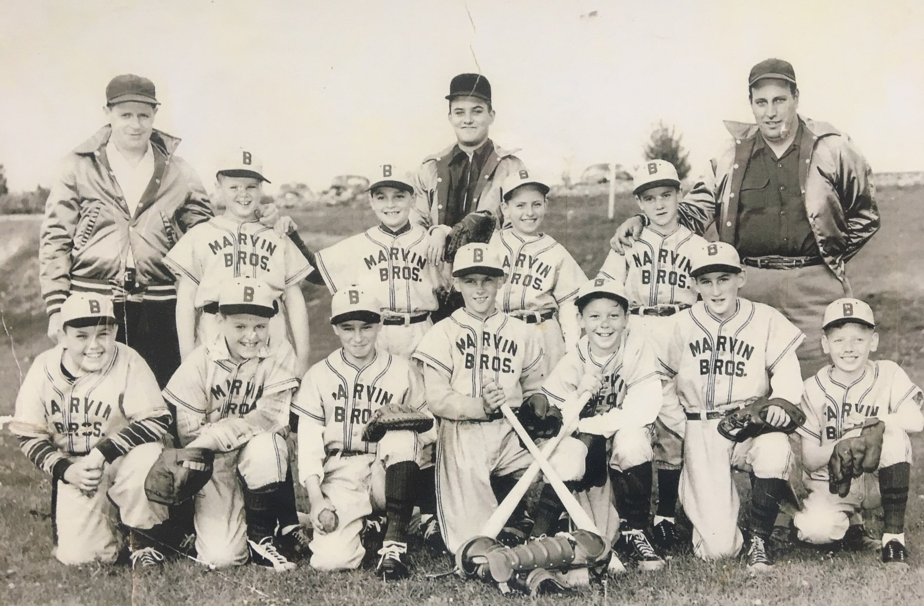 Marvin Bros. little league team, Burlington MA. Photo credit: Richard Sheppard (front row, center position).