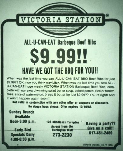 Victoria Station Burlington MA. Now Border Cafe.