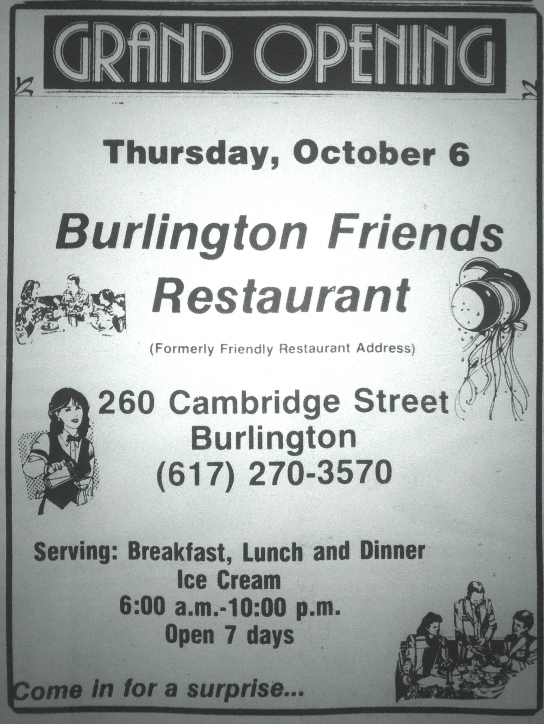 Burlington Friends Restaurant, Burlington MA