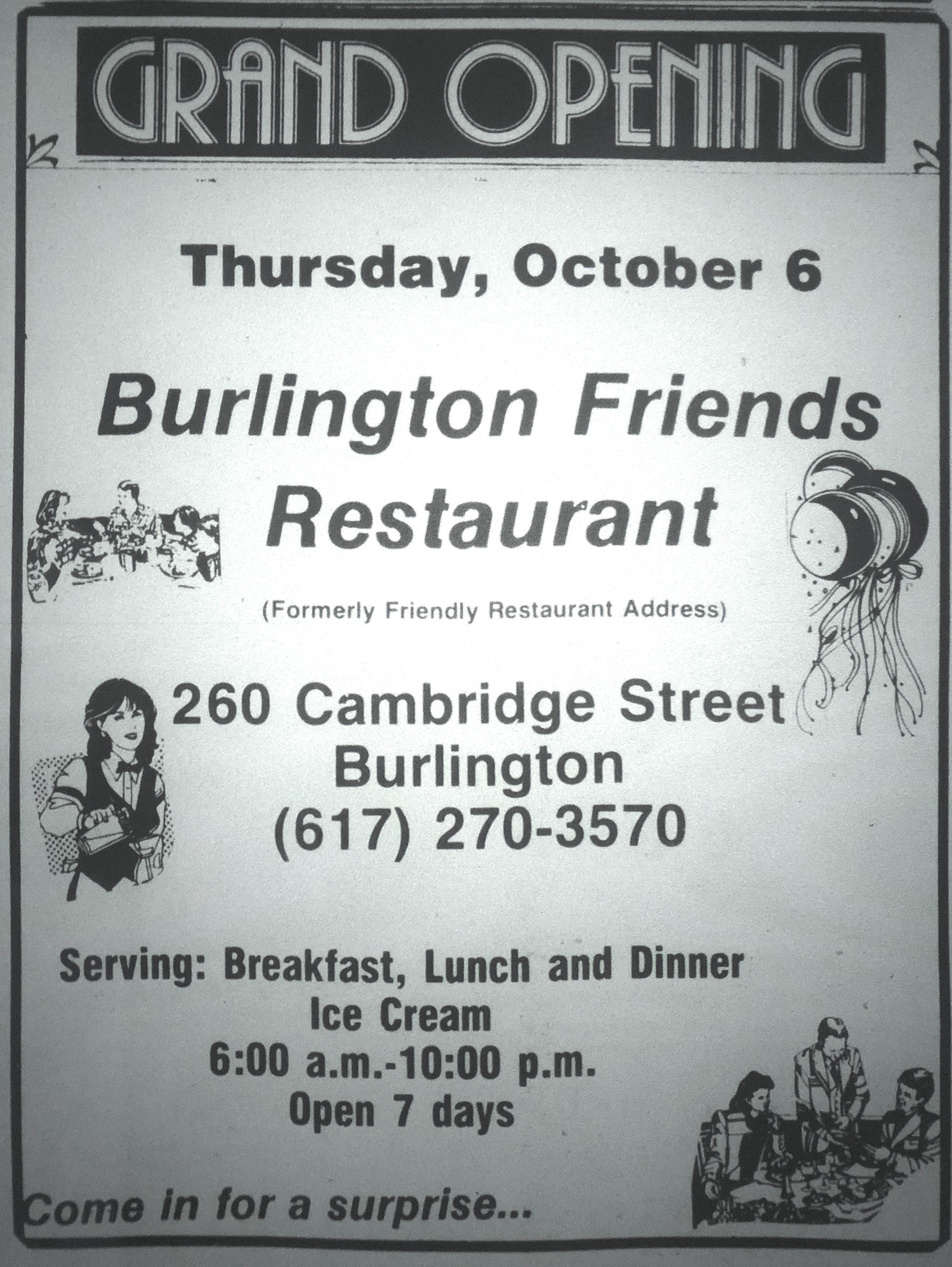 Burlington Friends Restaurant, Burlington MA