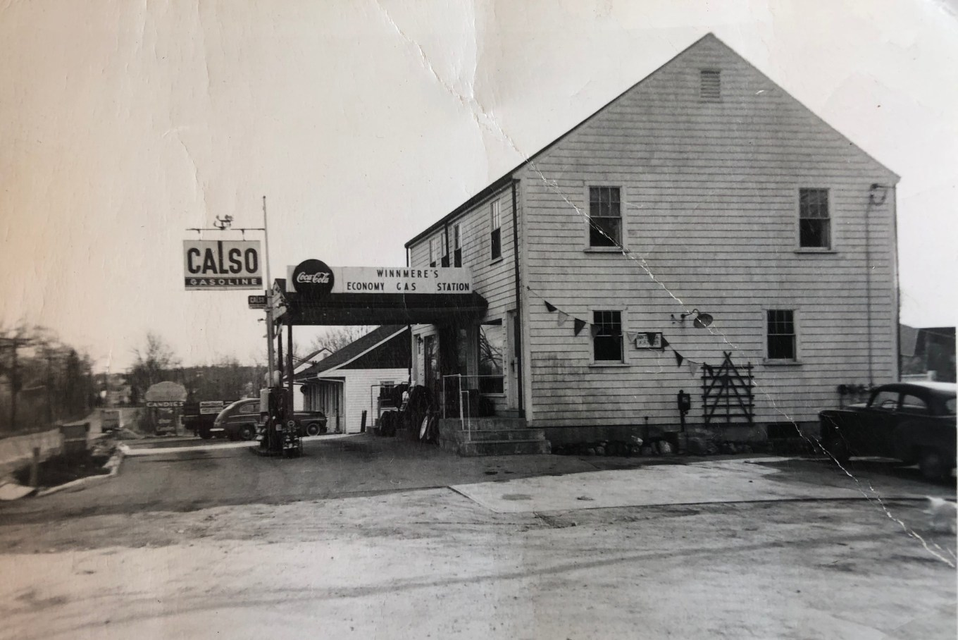 Tim Santry's Calso gas station, 1953, corner of Mountain Road and Winn Street