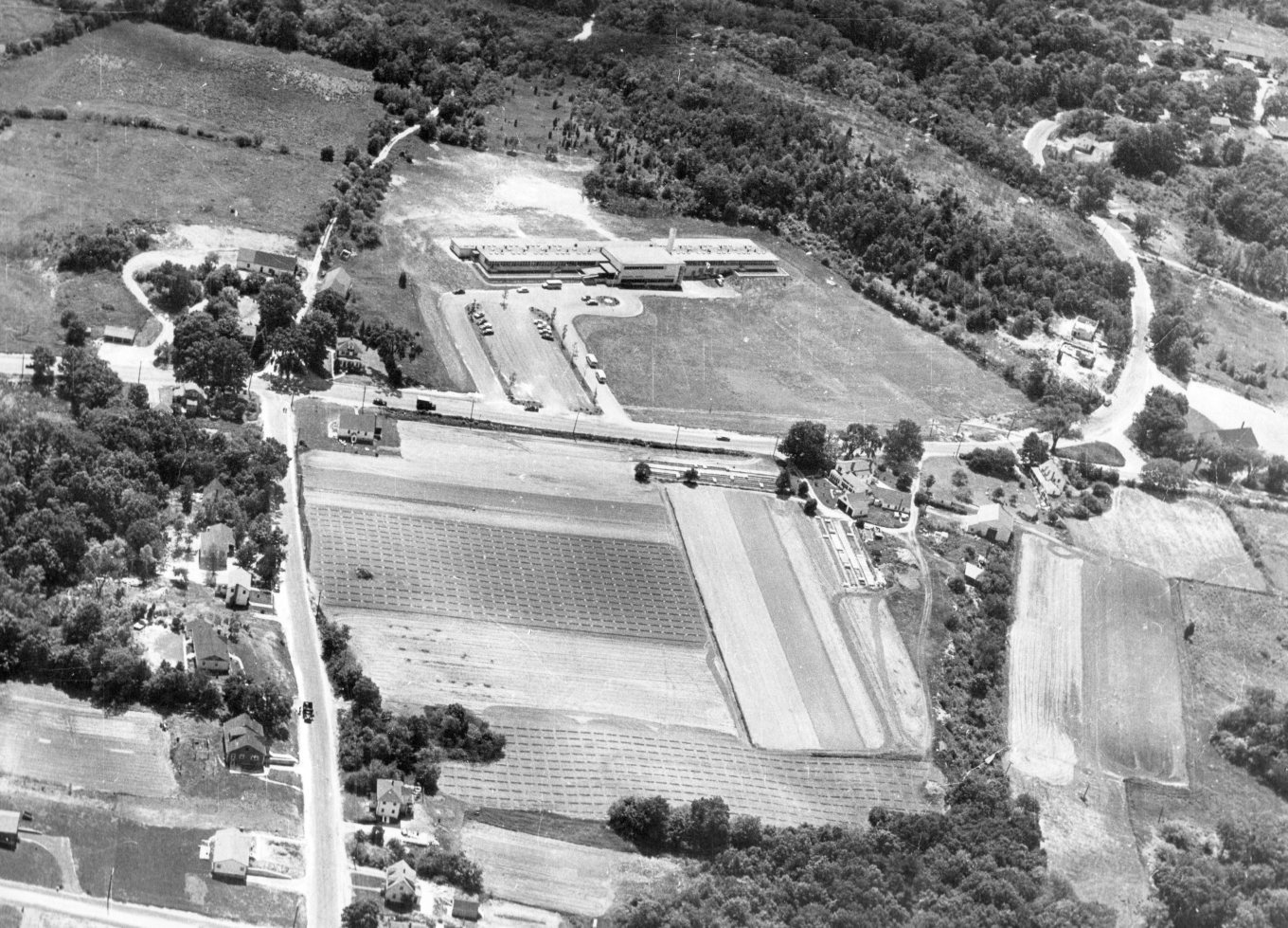1954 Memorial School aerial, Burlington, MA