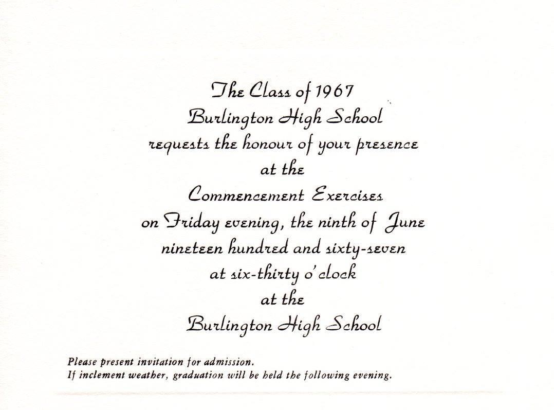 BHS graduation 1967, Burlington MA