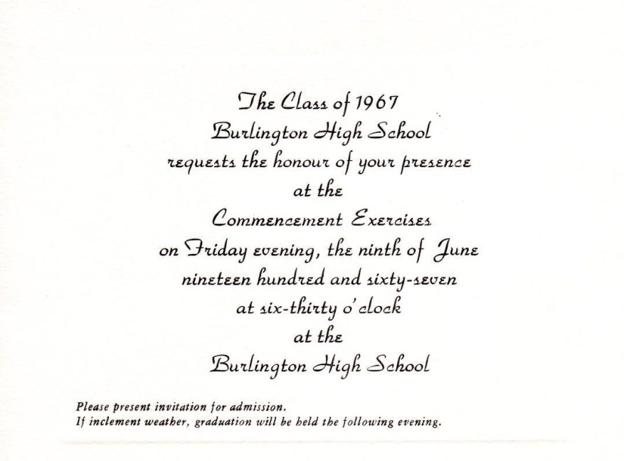 BHS graduation 1967, Burlington MA