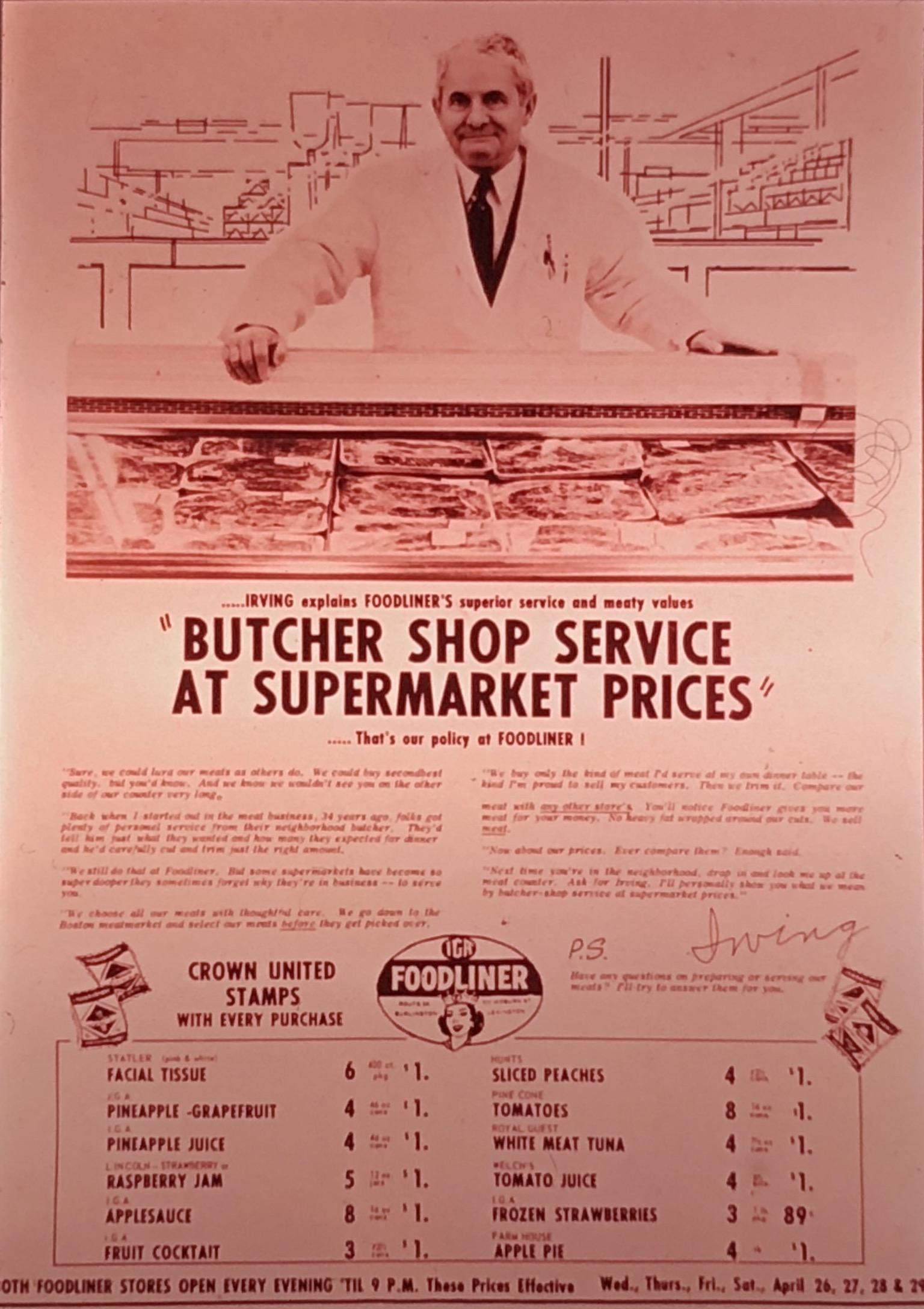 Irving Kolovson ad IGA Foodliner Burlington, MA