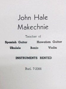 John Makechnie ad in 1952 high school yearbook