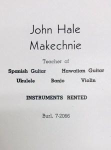 John Makechnie ad in 1952 high school yearbook