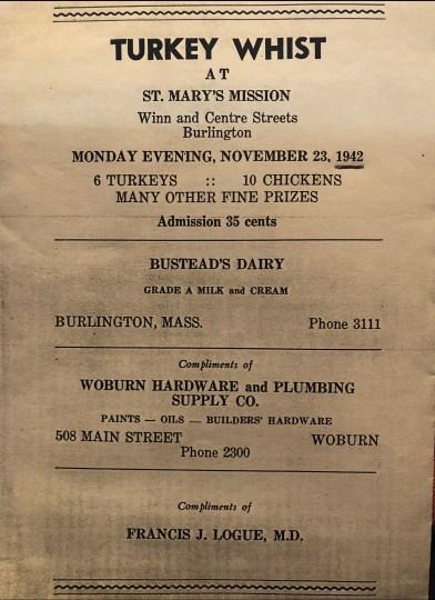 St. Mary's Mission Turkey Whist 1942 Burlington MA