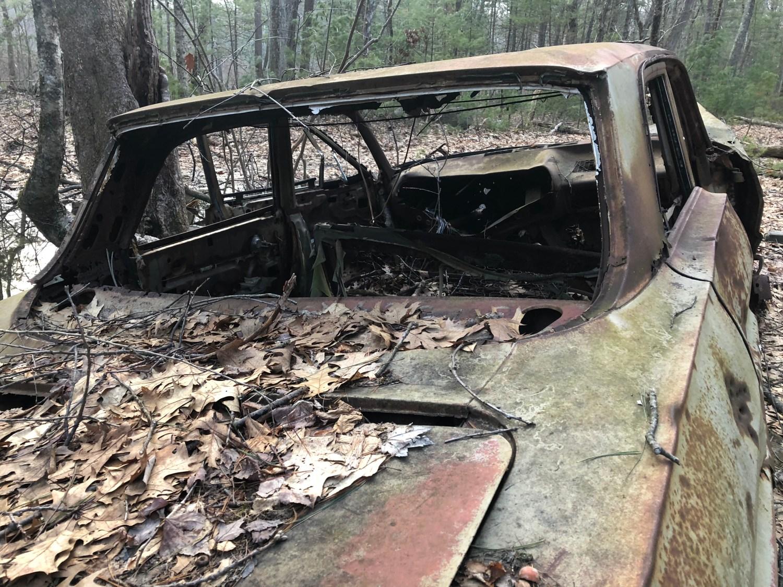 1963 Chevy Biscayne in woods near Fox Hill, Burlington MA