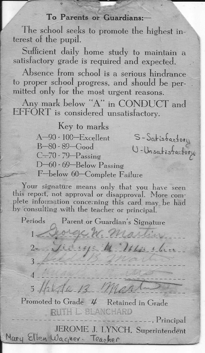 Ted Thomas Martin report card reverse, Union School Burlington MA