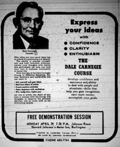 Dale Carnegie ad Burlington MA 1968