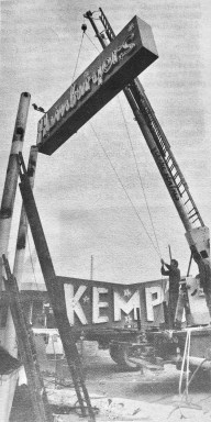 Kemp's Hamburgers sign taken down early 1970s, Burlington MA