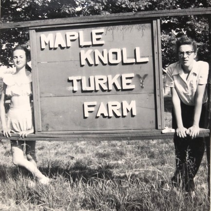 Maple Knoll Turkey Farm sign. Marie on the right. Burlington, MA