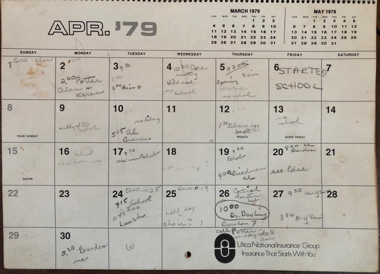 Beck family calendar, 1979