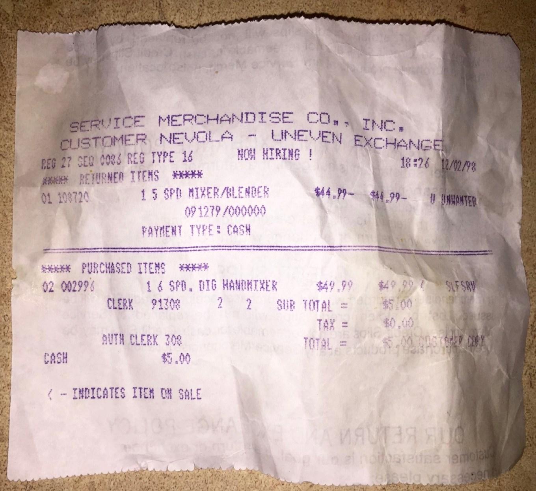 Service Merchandise receipt Burlington MA