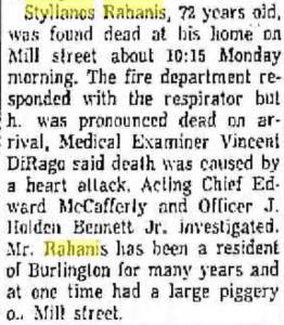 Stylianos Rahanis obituary Burlington MA