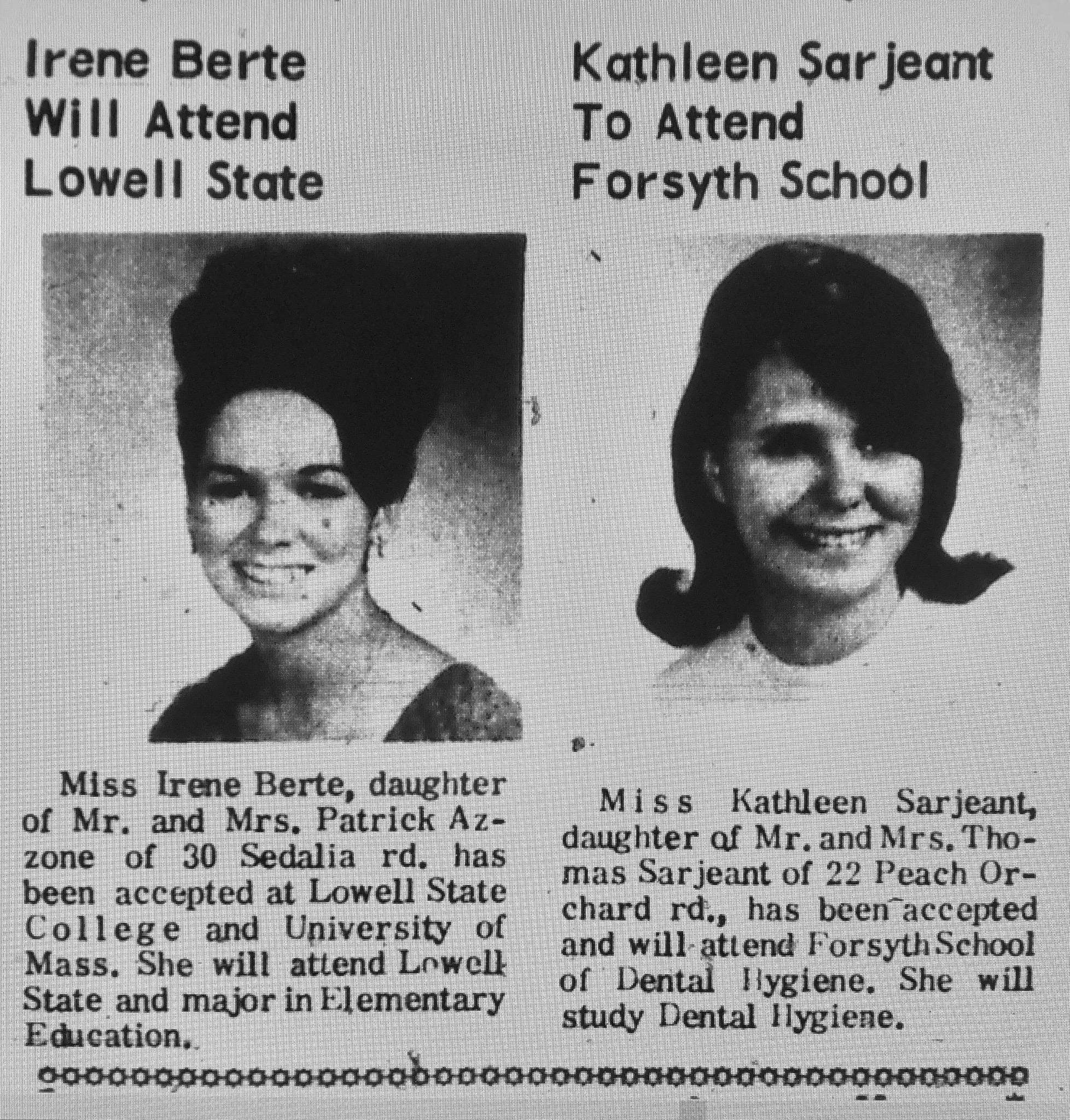 Irene Berte Kathleen Sarjeant Burlington MA