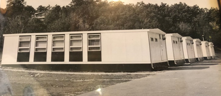 Portable classrooms behind original Memorial School, early 1970s, Burlington MA.