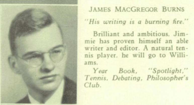 James MacGregor Burns 1935 Lexington High yearbook photo