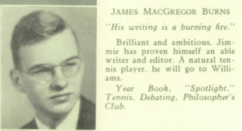 James MacGregor Burns 1935 Lexington High yearbook photo