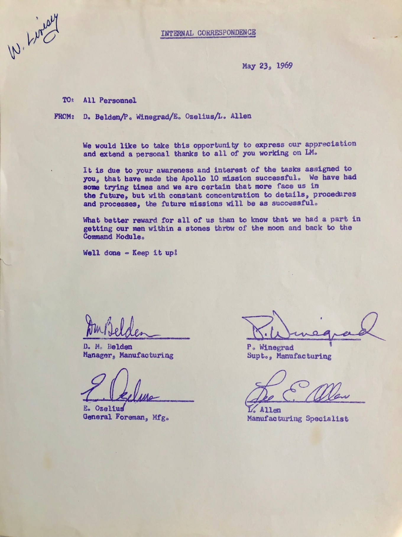May 23, 1969 internal note