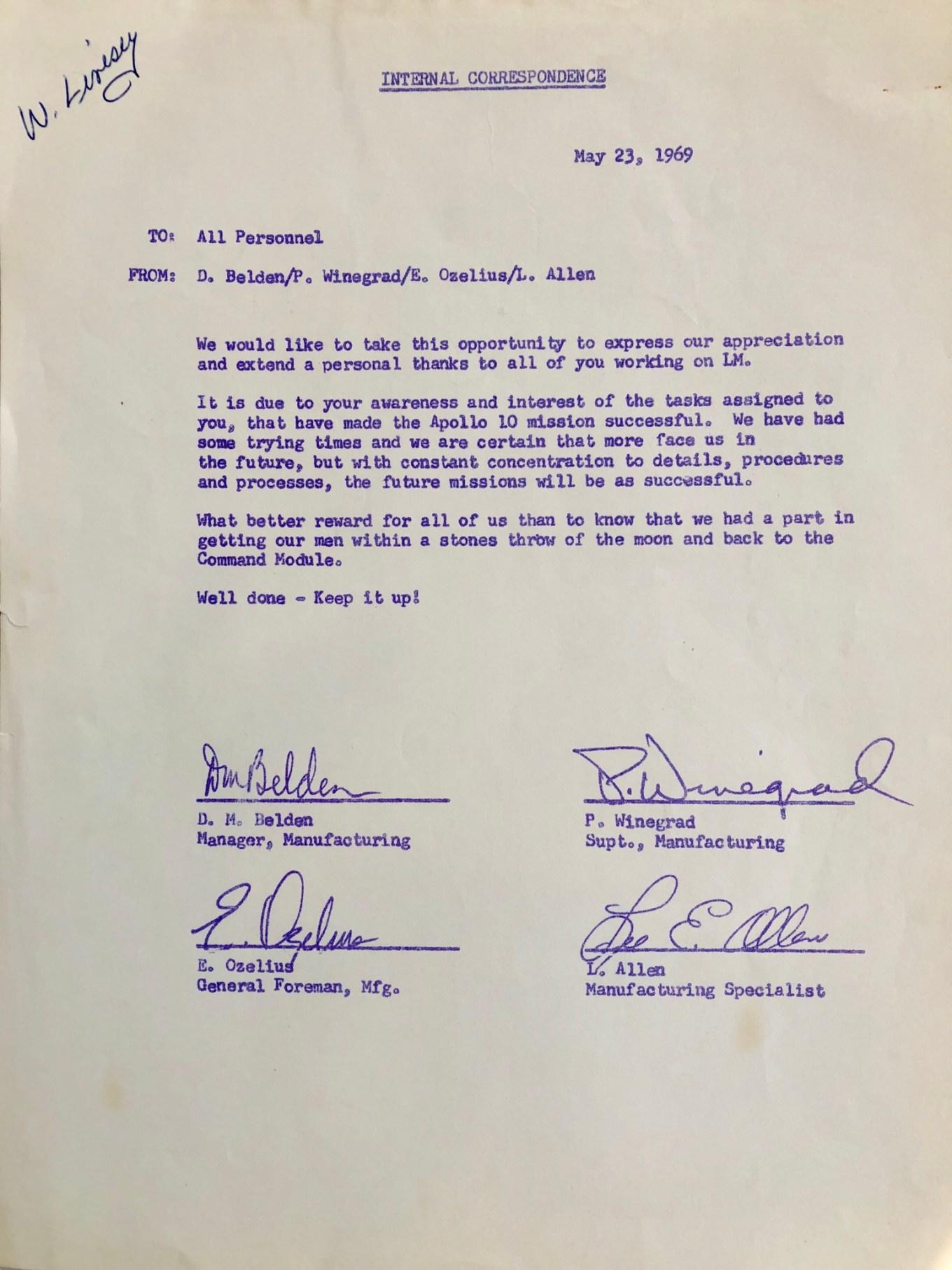 May 23, 1969 internal note