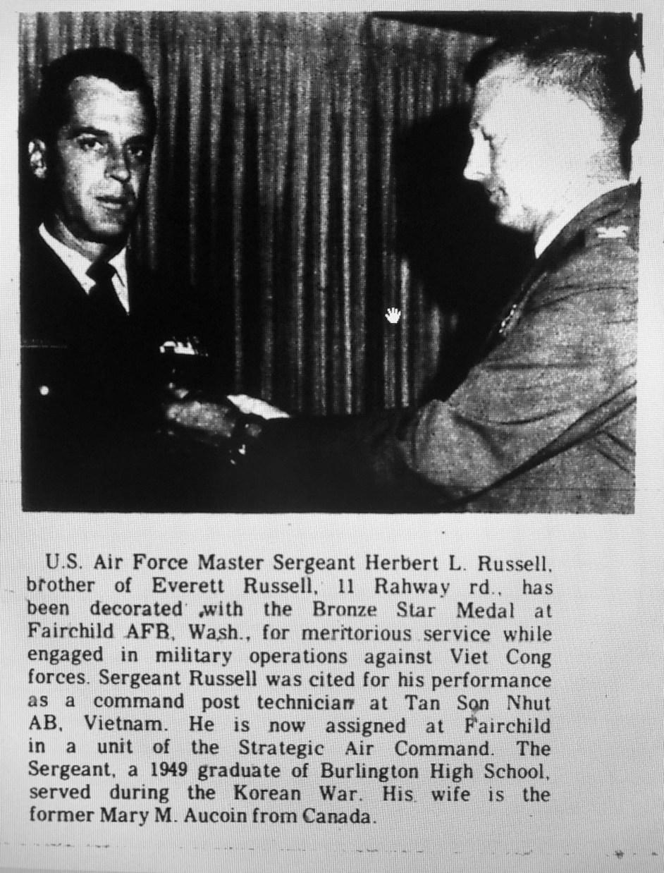 St. Herbert L. Russell, bronze star medal