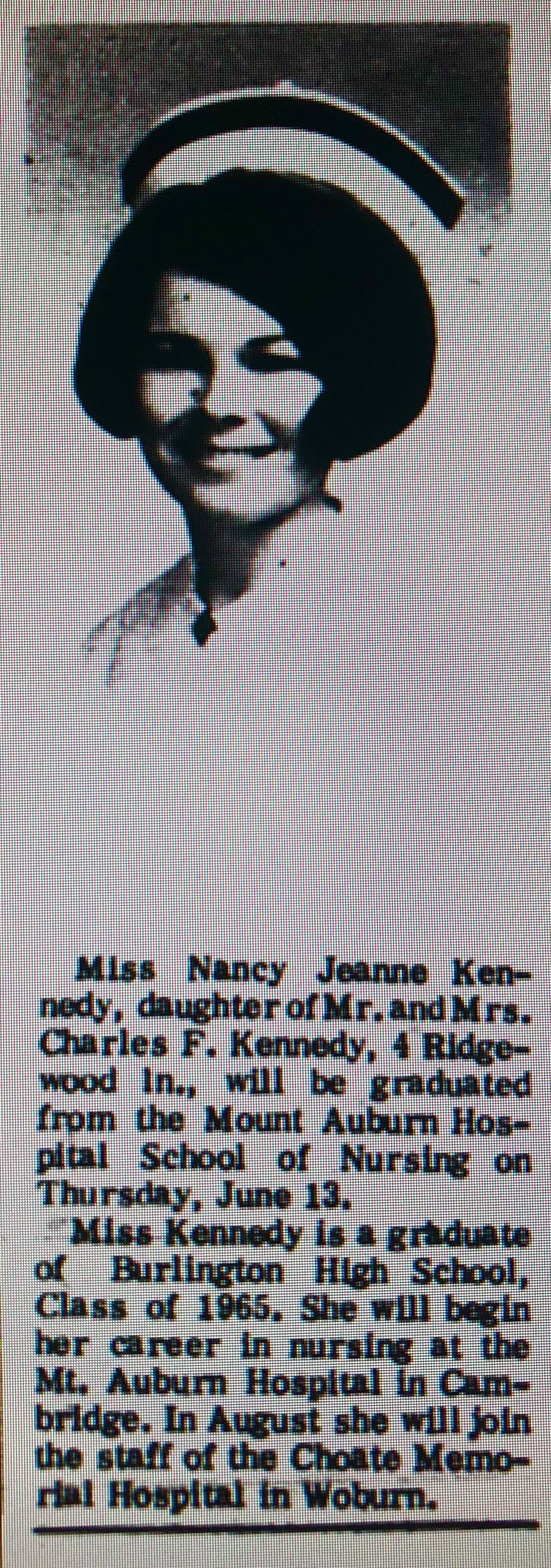 Nancy Jeanne Kennedy Mt. Auburn Burlington MA