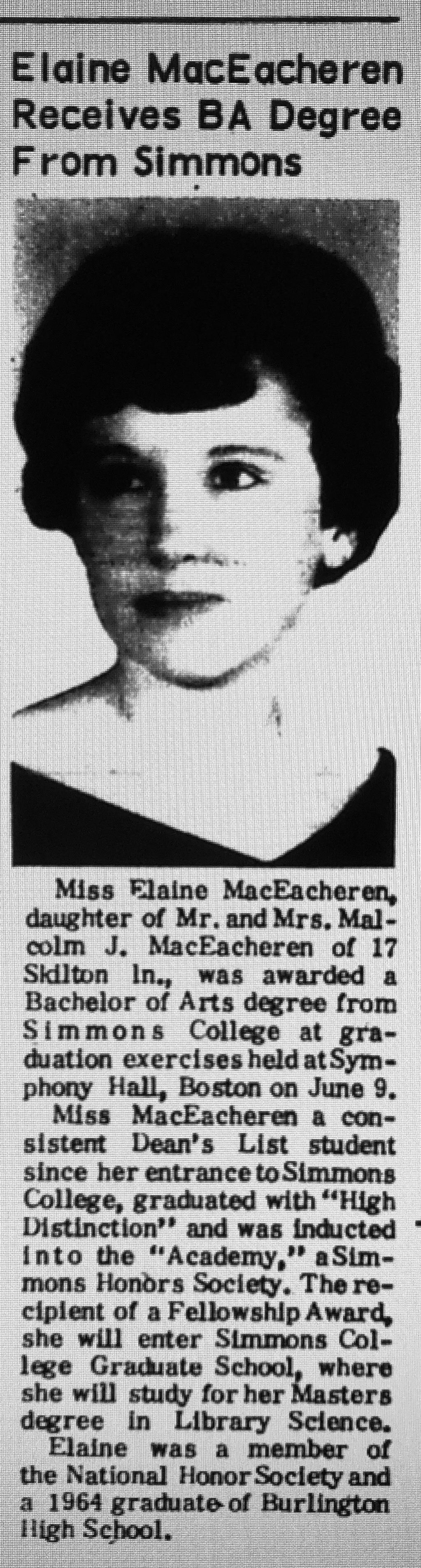 Elaine MacEacheren BA Simmons Burlington MA