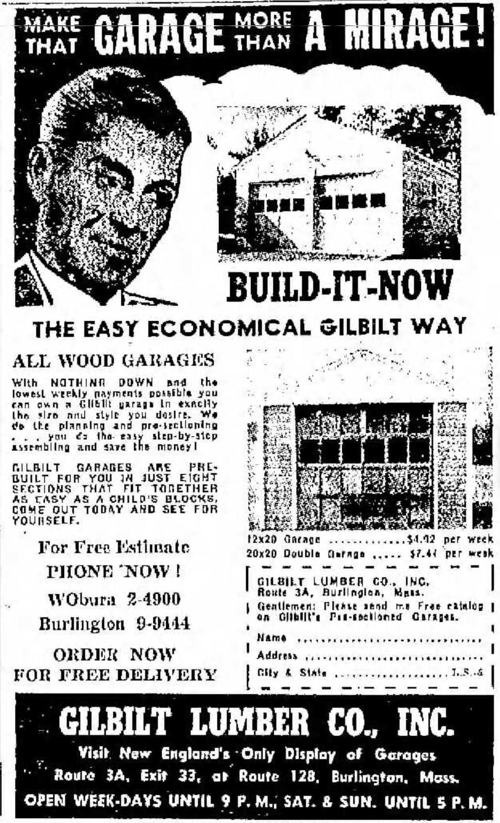 Gilbilt Lumber ad 1956 Burlington MA. Company named after Nashua-based home-builder Len Gilman