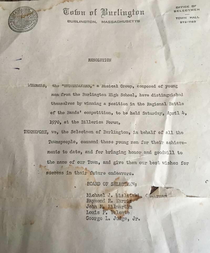 Undertakers letter from the Board of Selectmen, Burlington MA