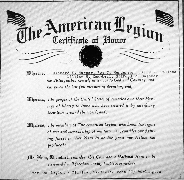 American Legion Certificate of Honor (Vietnam)