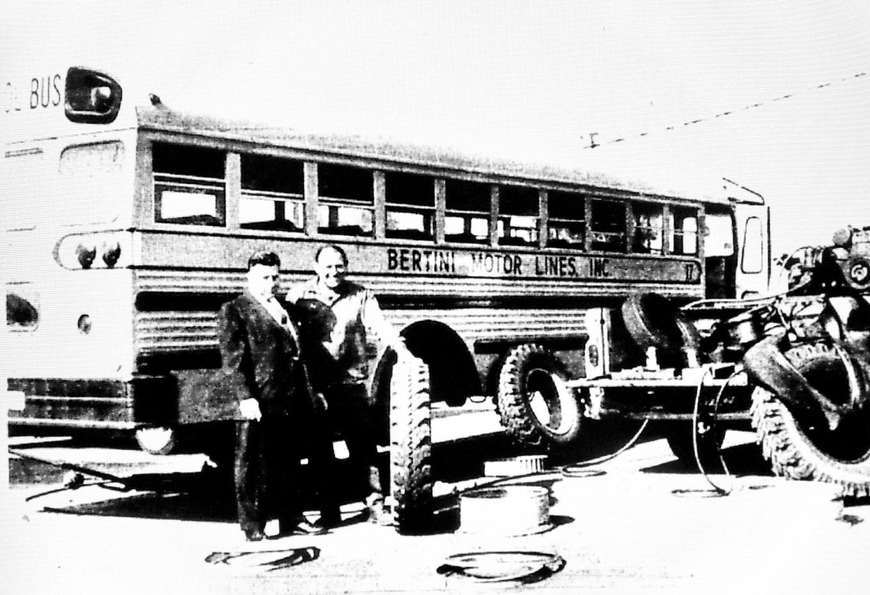 Robert Bertini with bus, Burlington MA