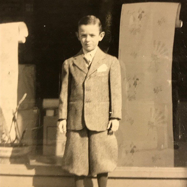 Arthur in 1942 outside Fine Arts Wallpaper in Brooklyn