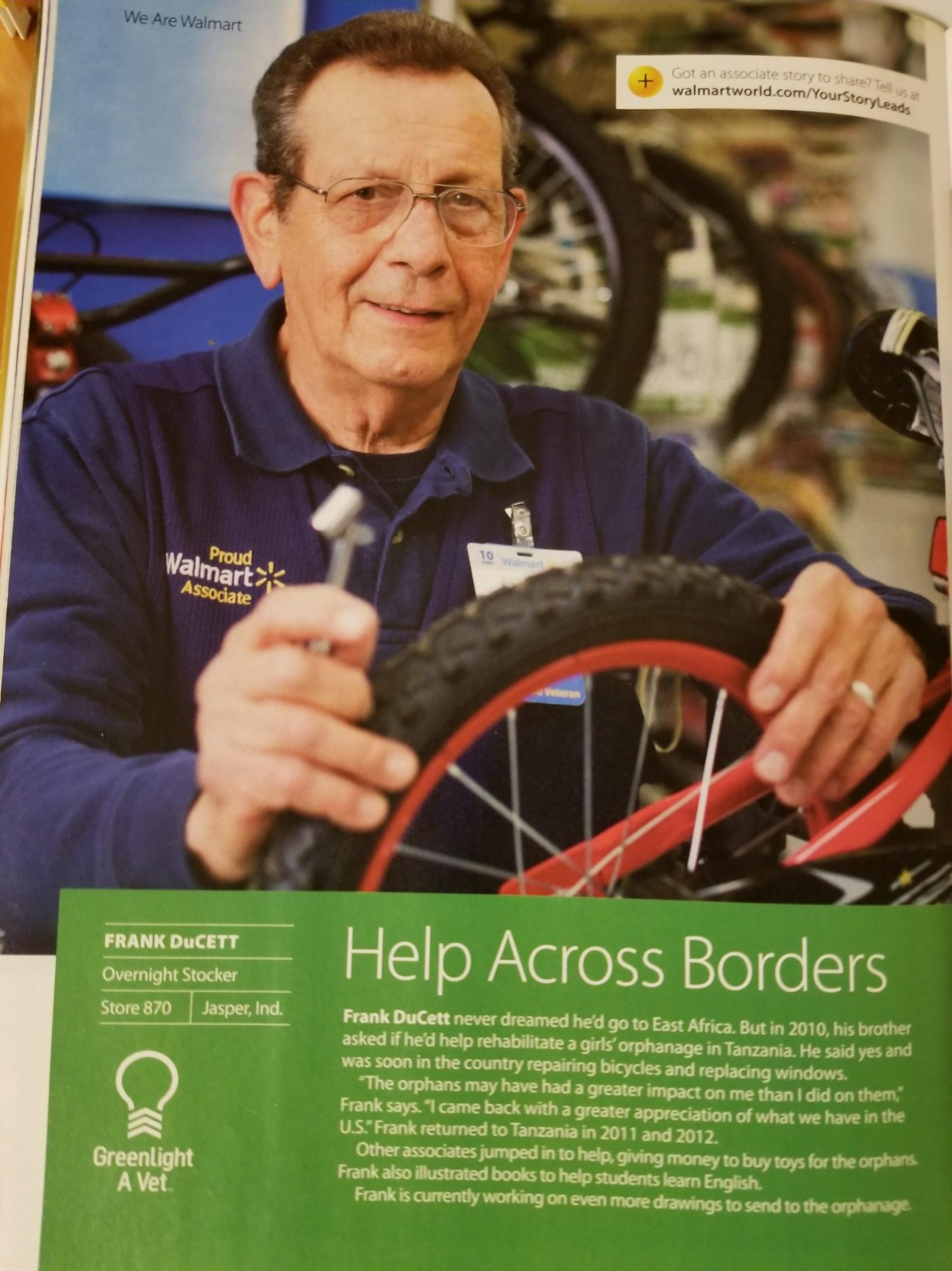 Frank DuCett in Wal-Mart trade magazine (2016)