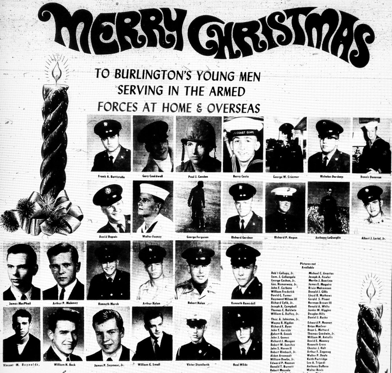 1968 Merry Xmas armed forces ad, Burlington MA