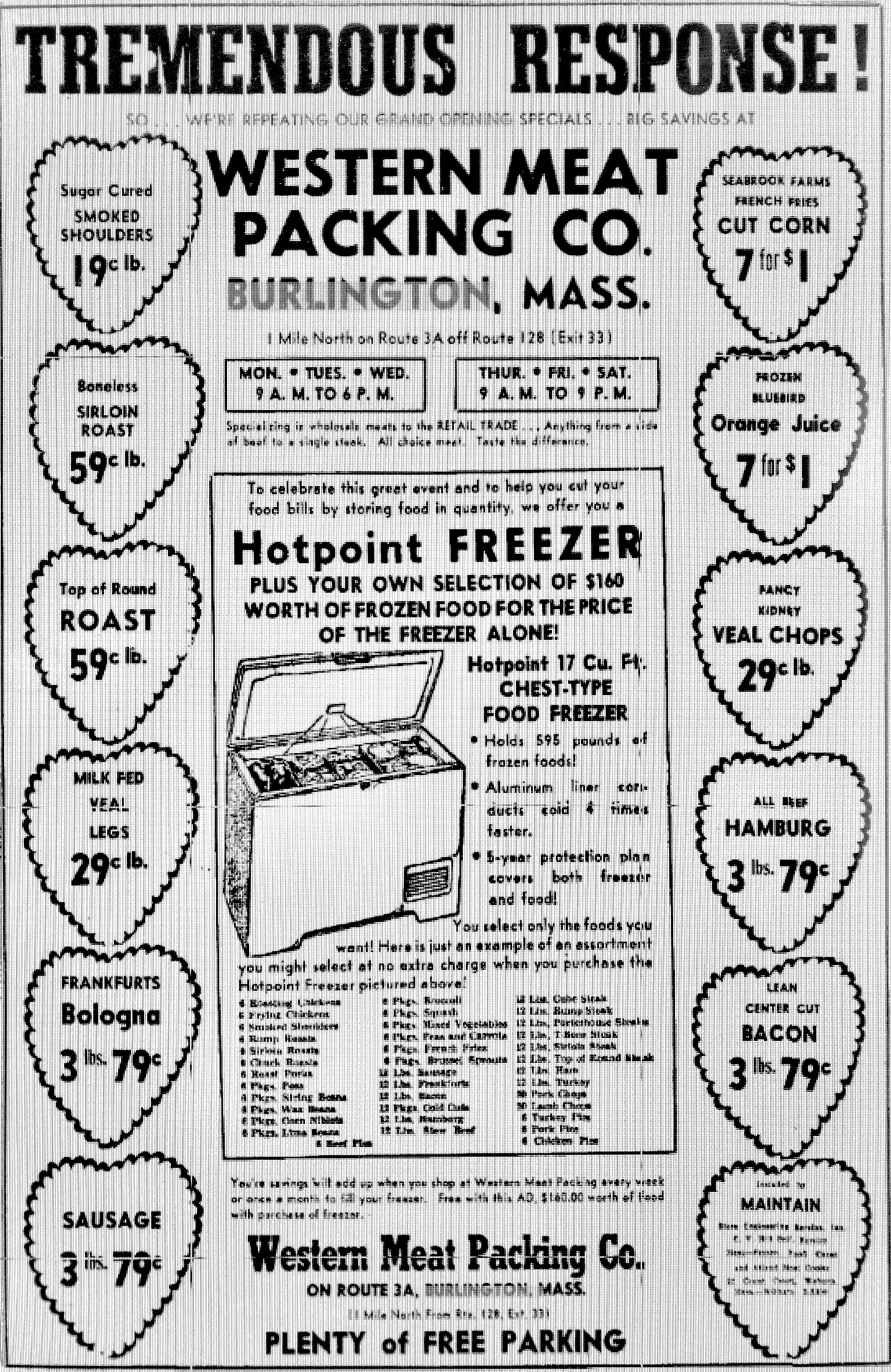 Western Meat Packing Co., 1956 ad Burlington MA
