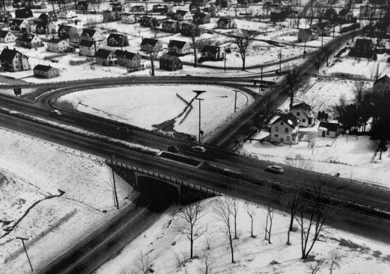 Winn St. interchange before highway expansion, Burlington MA